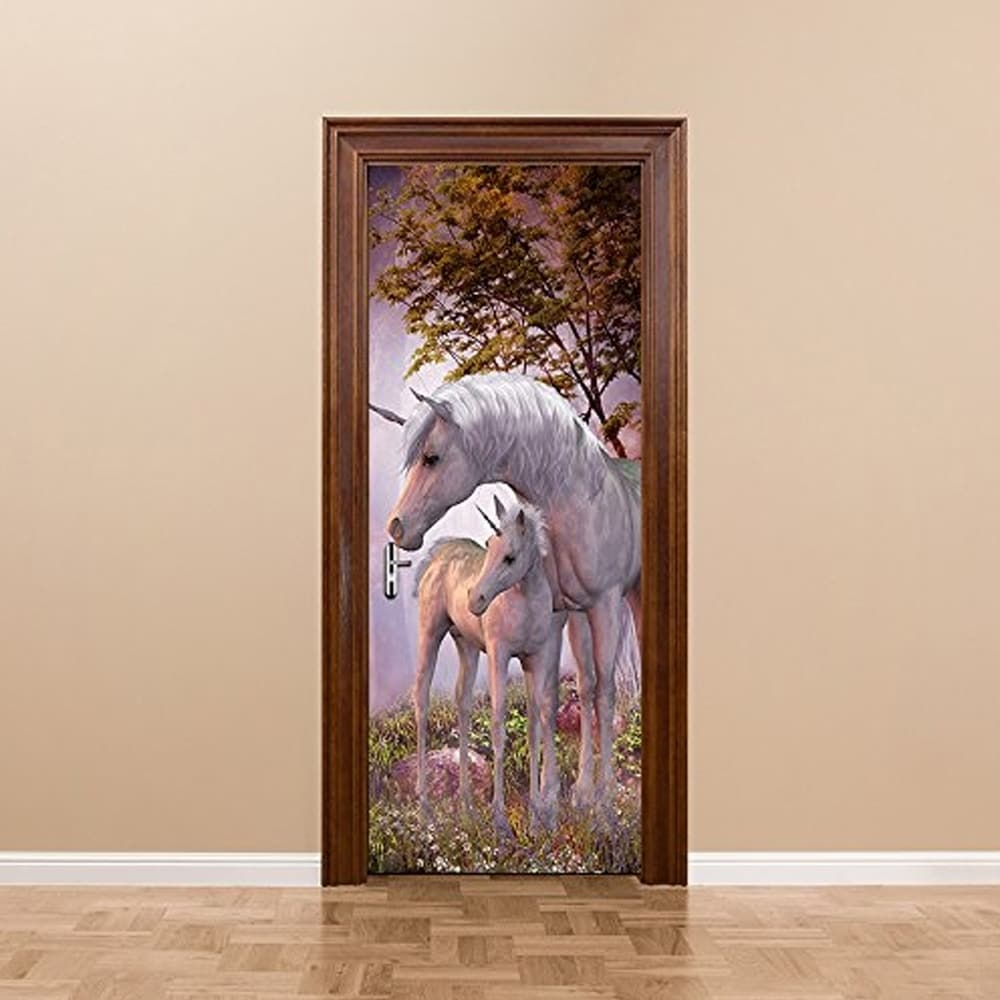 Shop 3d door wallpaper murals wall stickers unicorn for home decoration self adhesive removable door decals wall vinyl on sale free shipping today