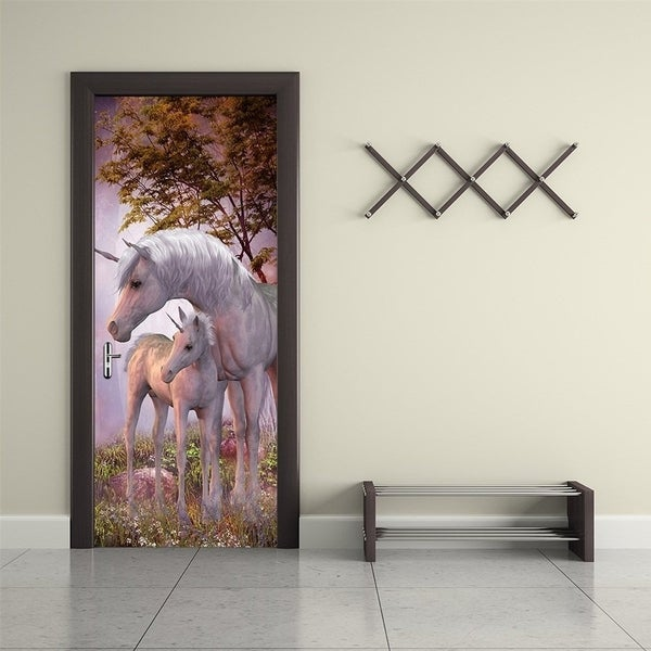 3d Door Wallpaper Murals Wall Stickers Unicorn For Home Decoration  Self Adhesive Removable Door Decals
