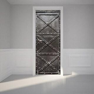 Iron Door Wall Mural Door Wallpaper Stickers Removable 3D Decals for Home Retro Decoration Wall Vinyl