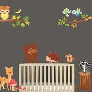 Animals in the Woods Cartoon Wall Decal, Bears Birds Deer Raccoon, Removable Vinyl Stickers Wall Vinyl