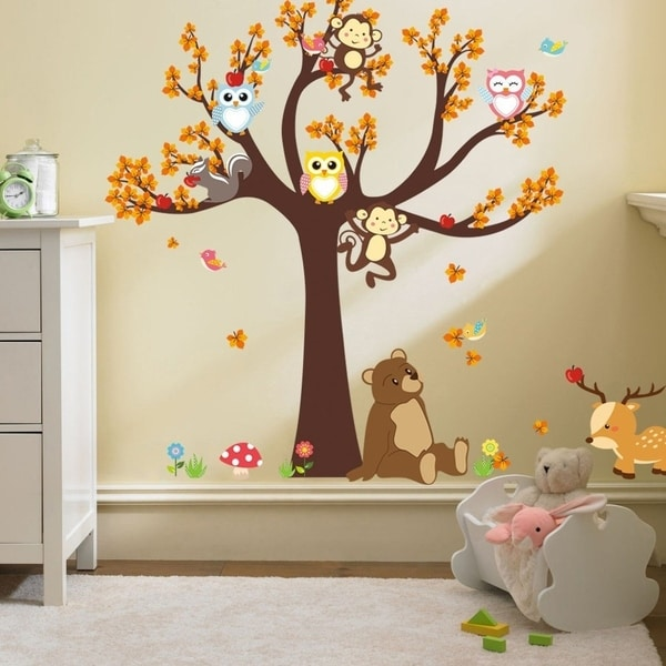 Cartoon Tree Animals Wall Vinyl