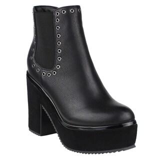 Beston FM18 Women's Metallic Studded Platform Block Heel Chelsea Ankle Booties (5 options available)