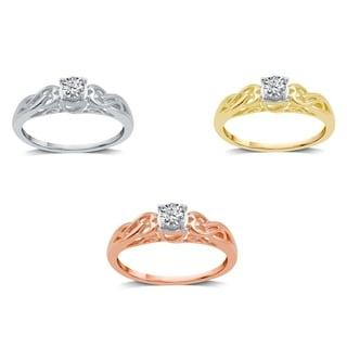 AMOUREUX 10k Gold 1/5 CTTW Diamond Fancy Solitaire Engagement Ring (I-J, I2-I3) - White I-J