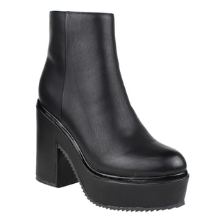 Beston FM20 Women's Flatform Side Zipper Ankle High Top Block Heel Booties