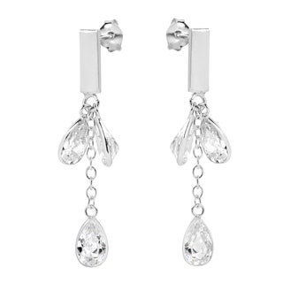 Triple White CZ Teardrop Link Silver Post Drop Earrings (Thailand)