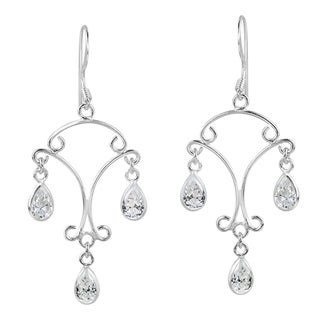 Sparkling Chandelier CZ Teardrop 925 Silver Earrings (Thailand)