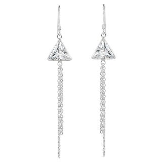 Geometric Triangle CZ Tassel Drop Silver Dangle Earrings (Thailand)