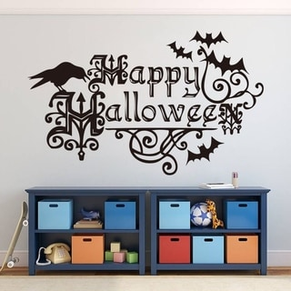 happy halloween party bat wall decals stickers removable decal room decor wall vinyl