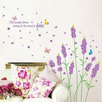 Removbale Flowers Lavender Wall Stickers Quote Decal Art PVC Kids Room Decor Wall Vinyl
