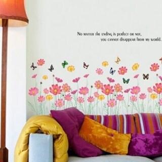 Flower Butterfly Grass Wall Sticker Vinyl Art Decal Mural Kid Room Decor DIY