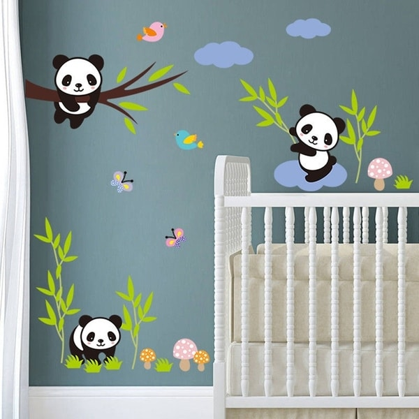 Shop Panda Birds Tree Kids Room Decor Wall Paper Art Vinyl Removable Sticker  DIY Wall Vinyl   Free Shipping On Orders Over $45   Overstock   17951192