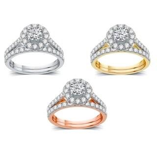 AMOUREUX 14k Gold 1-1/2 CTTW Diamond Flower Cluster Bridal Set (I-J, I1-I2) - White I-J