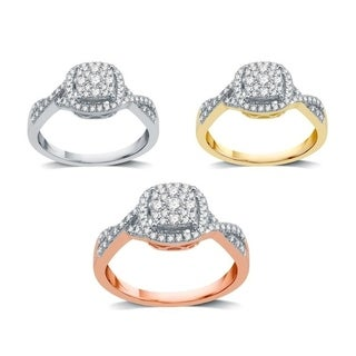 AMOUREUX 14k Gold 3/8 TDW Diamond Classic Criss-Cross Engagement Ring (I/J, I1-I2) - White I-J