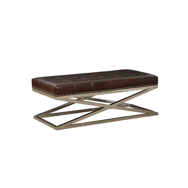Peyton Rectangular Stainless Base Tufted Cocktail
