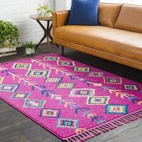 Pink Boho Moroccan Tassel Area Rug - 7'10 x 10'