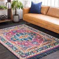 Boho Medallion Tassel Blue/Orange Area Rug
