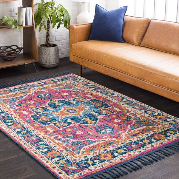 Boho Medallion Tel Blue Orange Runner Area Rug 2 X27 7