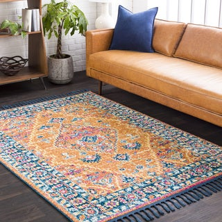 Boho Orange/ Cream Medallion Tassel Area Rug (5' x 7'3) - 5' x 7'3""