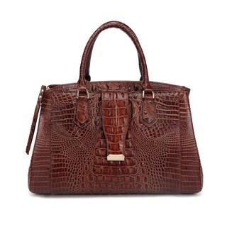 Octavia Croc Brown Leather Medium Weekender Bag