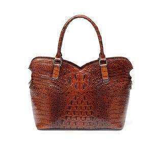 Aya Croc Embossed Leather Tote Handbag - Red - M