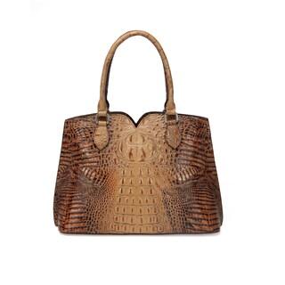 Maya Croc Embossed Leather Tote Handbag - Brown - M