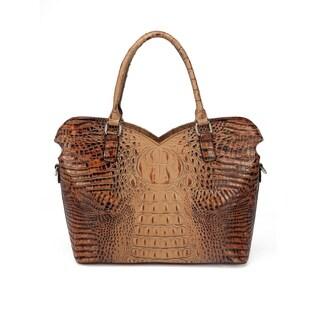 Aya Croc Embossed Leather Tote Handbag - Brown - M