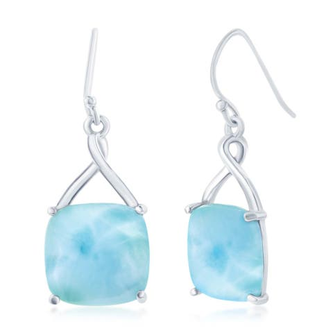 La Preciosa Sterling Silver High Polish Natural Larimar Stone Four Prong Square Dangle Earrings - Blue