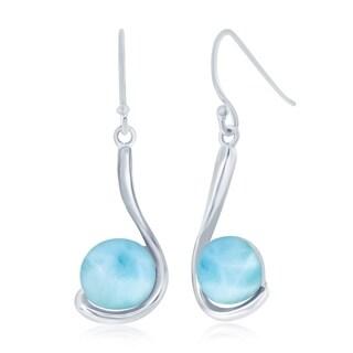 La Preciosa Sterling Silver High Polish Natural Larimar Round Stone Swirl Design Dangle Earrings - Blue