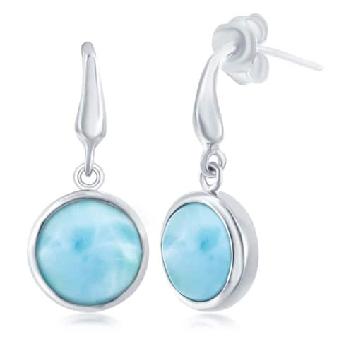 La Preciosa Sterling Silver High Polish Natural Round Larimar Stone Bezel Set Dangle Earrings - Blue