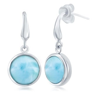 La Preciosa Sterling Silver High Polish Natural Round Larimar Stone Bezel Set Dangle Earrings - Blue