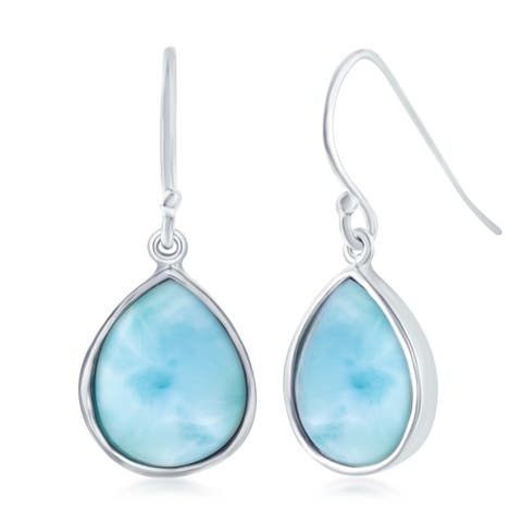 La Preciosa Sterling Silver Natural Larimar Stone Teardrop Dangle Earrings - Blue