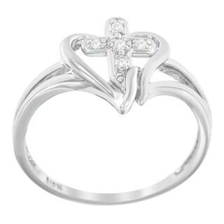10k White Gold Cross .03ct. TDW Round-cut Diamond Accent Ring (H-I, I1-I2)