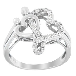 Sterling Silver .10ct TDW Round-cut Diamond Ring (H-I,I3) - White