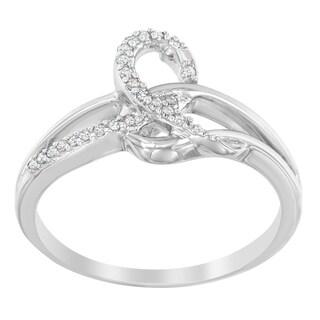 Sterling Silver .10ct. TDW Round-cut Diamond Ring (H-I,I1-I2) - White