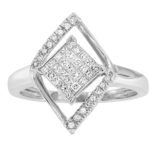 10k White Gold 1/3ct TDW Round and Princess Cut Diamond Double Triangle Ring (H-I, I2-I3)