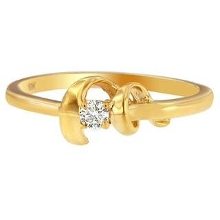 Espira 10k Yellow Gold .1ct TDW Round Cut Diamond Accent Ring (SI2-I1) - White