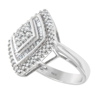 14K White Gold 1ct. TDW Round and Baguette-cut Diamond Ring (I-J,SI2-I1)