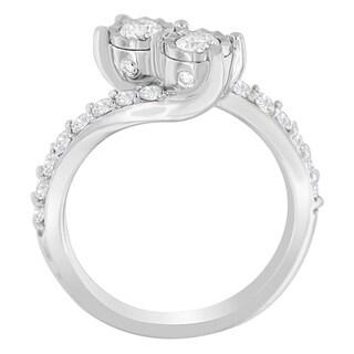 10K White Gold 1ct. TDW Two-Stone Diamond Ring (H-I,I1-I2)