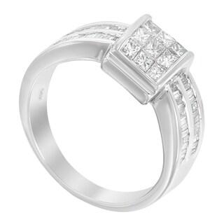 14k White Gold 1ct Baguette and Princess Diamond Ring (H-I, I1-I2)