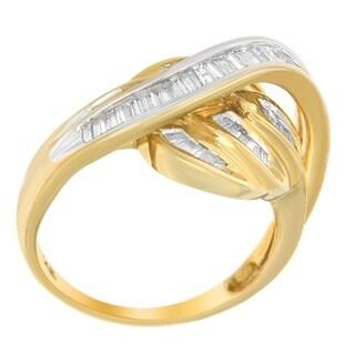 14K Yellow Gold 1ct. TDW Baguette-cut Diamond Ring (H-I,SI1-SI2) - White