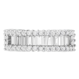 14K white gold 1 ct. TDW Round and Baguette Diamond Cut Ring(SI2-I1, H-I)