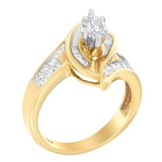 14k Yellow Gold 1 1/2ct TDW Princess, Baguette, and Pie cut Diamond Marquise Shaped Ring (H-I, SI1-SI2) - White