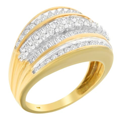 10K Yellow Gold 1ct.TDW Round And Baguette Cut Diamond Ring(H-I,I2-I3)