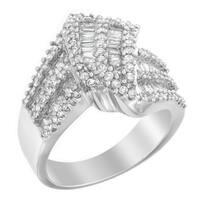 10k White Gold 1 1/2ct TDW Round and Baguette-cut Diamond Ring (H-I, I1-I2)