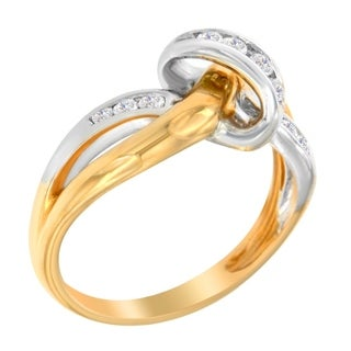 10k Two-Toned Gold 1/4ct TDW Round Cut Diamond Ring (J-K,I2-I3) - White