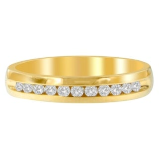 18K Yellow Gold 1/4ct. TDW Round-cut Dimaond Ring (H-I,I1-I2) - White