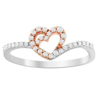 10K Two Toned 1/5ct. TDW Round-cut Diamond Ring (H-I,I1-I2) - White