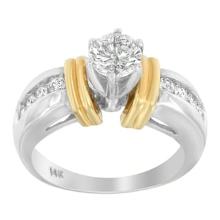 14K Two-Toned Gold 1ct. TDW Round Cut Diamond Ring (H-I,SI1-SI2) - White