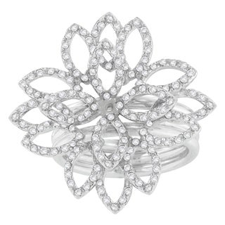 18k White Gold 1 ct. TDW Round Cut Diamond Flower Ring (H-I,SI1-SI2)