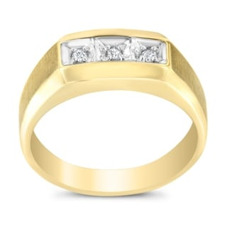 14K Yellow Gold Men's .06ct TDW Round Cut Diamond Ring(H-I,I1-I2) - White